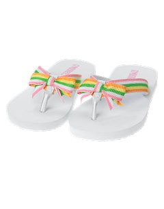 White Multi-Stripe Ribbon Flip Flop