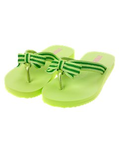 Green Striped Ribbon Flip Flop