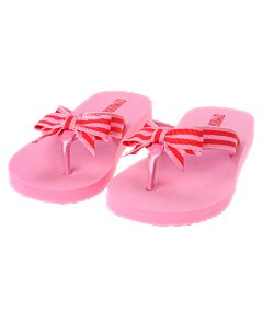 Pink Striped Ribbon Flip Flop