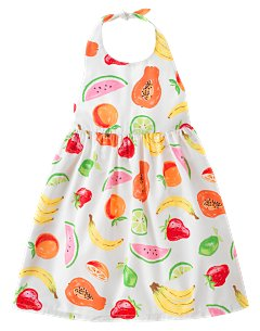 Fruit Print Halter Dress