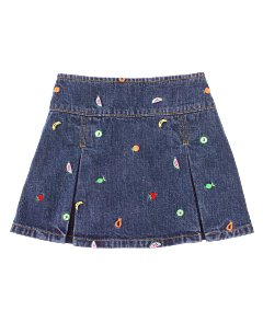 Embroidered Fruit Pleated Skort