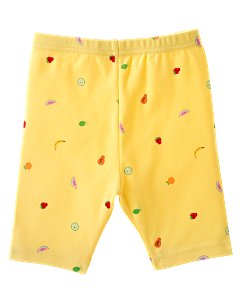 Yellow Fruit Print Bike Short