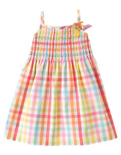 Smocked Gingham Woven Dress