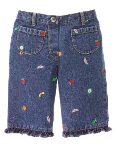 Embroidered Fruit Capri