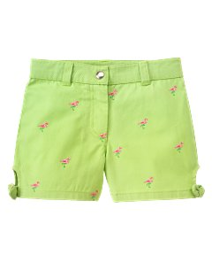 Embroidered Flamingo Short