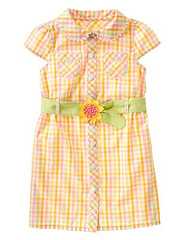 Check Sunflower Shirt Dress